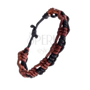 Náramek na ruku z kůže - zaplétané karamelově-černé proužky