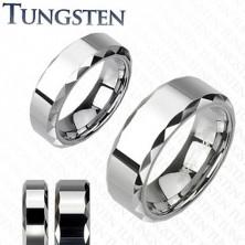 Prsten z wolframu, stříbrný odstín, zkosené vybroušené okraje, 8 mm