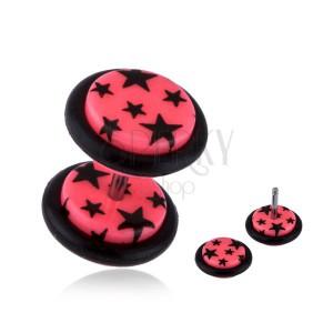 Fake plug do ucha z akrylu - černé hvězdy, růžový podklad