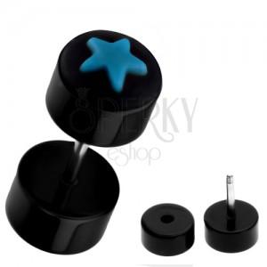 Falešný piercing do ucha z akrylu - černý s modrou hvězdou