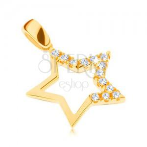 Zlatý přívěsek 585 - velká hvězda s broušenými zirkony na třech cípech