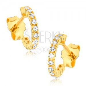 Zlaté náušnice 585 - napichovací zirkonové půlkruhy