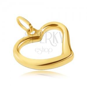 Zlatý přívěsek 585 - lesklé srdíčko s nepravidelnou linií