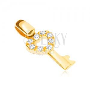 Zlatý přívěsek 14K - klíček se srdcovitou zirkonovou hlavičkou