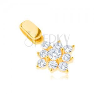 Zlatý přívěsek 14K - třpytivá zirkonová vločka