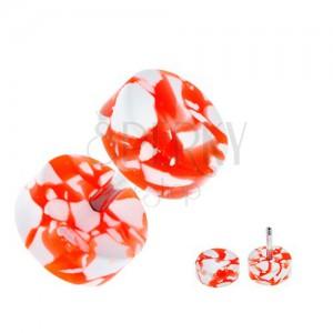 Akrylový fake plug do ucha - bílo-oranžová kolečka