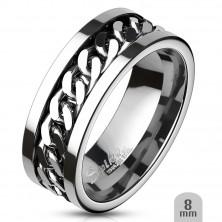 Prsten z chirurgické oceli se středovým řetězovým pruhem