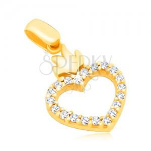 Zlatý 14K přívěsek - obrys srdce se zirkony a s korunkou