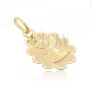 Zlatý přívěsek 585 - známka s vroubkovaným lemem a klečícím andělem