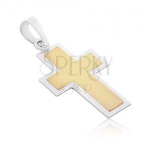 Přívěsek ze 14K zlata - dvoubarevný křížek s matným středem