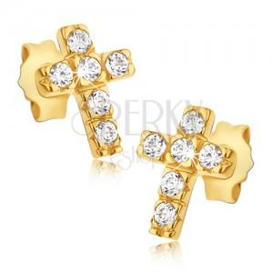 Zlaté 14K náušnice - křížky se šesti kulatými zirkony