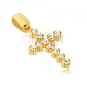 Přívěsek ze zlata 14K - třpytivý křížek s vyčnívajícími tyčinkami