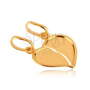 Zlatý dvojpřívěsek 585 - přelomené lesklé srdce se zahnutým okrajem