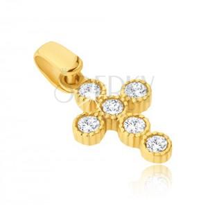 Přívěsek ve žlutém 14K zlatě - křížek s kulatými zirkony v objímkách