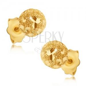 Náušnice ze zlata 585 - pískované kuličky s lesklými zrnky