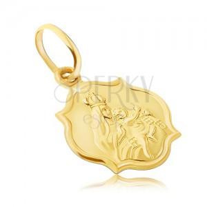 Zlatý přívěsek 585 - oboustranná matná známka s Madonou a Kristem