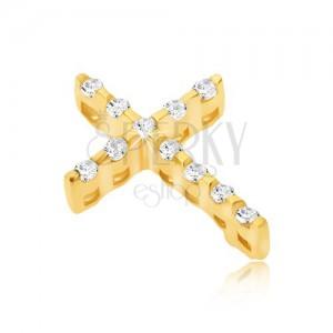 Zlatý 14K přívěsek - tenký křížek ze zirkonů a ukryté očko