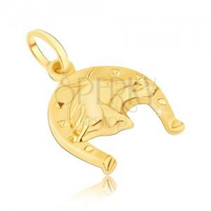 Přívěsek ze 14K zlata - podkova se čtverečky a s 3D hlavou koně
