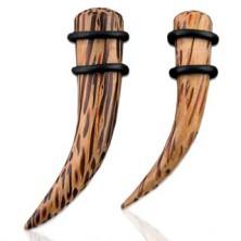 Expander do ucha z přírodního kokosového dřeva, zahnutý