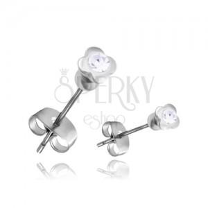 Ocelové náušnice - stříbrný čtyřlístek s čirým zirkonem