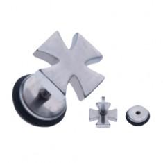 Ocelový falešný piercing do ucha - stříbrný maltézský kříž AA44.06