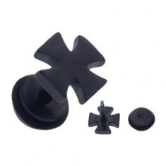 Černý ocelový fake piercing do ucha, lesklý maltézský kříž W05.01