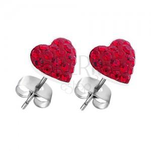 Náušnice ze stříbra 925 - červené zirkonové srdce, puzety
