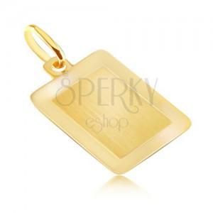 Zlatý 14K přívěsek - hladká obdélníková známka s lesklým rámečkem