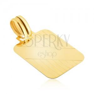 Zlatý přívěsek 585 - tabulka se svislými zářezy a šikmým hladkým pásem
