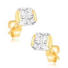 Zlaté 14K náušnice - třpytivý zirkon uchycený ze dvou stran v objímce GG04.07 Šperky eshop