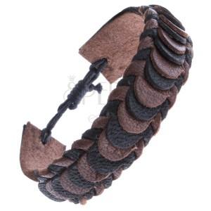 Kožený náramek na ruku se šupinovým motivem - pletený, hnědo-černý