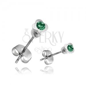 Ocelové náušnice - čtyřlístek se zeleným zirkonem