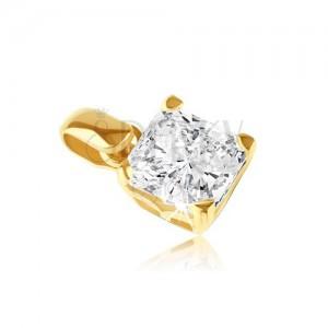 Zlatý 14K přívěsek - čtvercový zirkon v ozdobné objímce s úchytkami