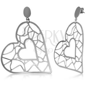 Ocelové náušnice - větší a menší srdce