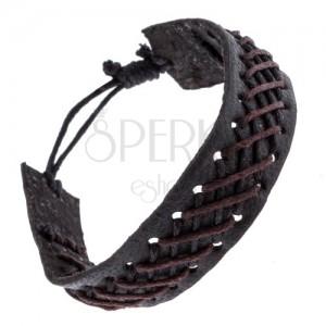 Černý kožený náramek s černo-hnědým pleteným vzorem