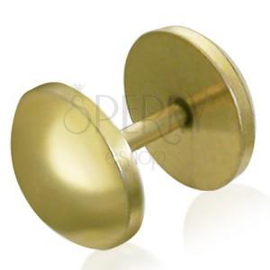 Kulatý fake plug z oceli - zlatá barva, anodizovaný povrch