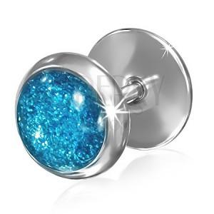 Ocelový falešný plug do ucha - modré třpytivé očko