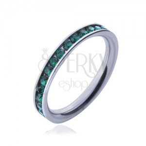 Prsten z chirurgické oceli - zelené kulaté zirkonky