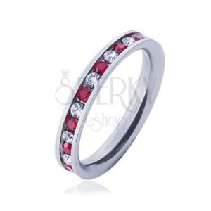 Ocelový prsten - obroučka, střídající se čiré a červené zirkony