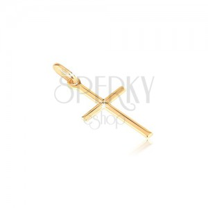 Zlatý 14K přívěsek - drobný lesklý křížek s gravírovaným X