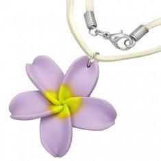 Květinový FIMO náhrdelník - fialový květ, béžová šňůrka