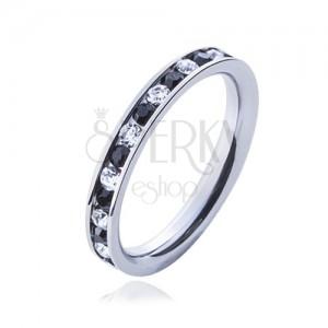 Ocelový prsten - čiré a černé kamínky