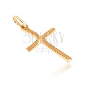 Zlatý přívěsek 585 - křížek s dlouhými matnými oblouky na cípech