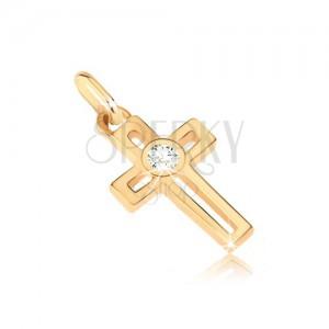 Přívěsek ze 14K zlata - křížek s obdélníkovým výřezem a kulatým zirkonem