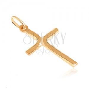 Přívěsek ze zlata 14K - kříž se zploštělými cípy a matnými oblouky