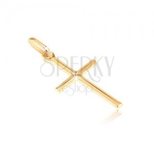 Přívěsek ze zlata 14K - úzký křížek s tenkým X ve středu