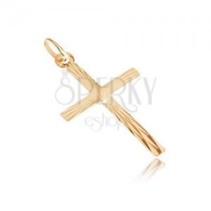 Přívěsek ze zlata 14K - velký latinský kříž, paprskovité zářezy