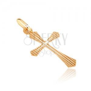 Zlatý přívěsek 585 - strukturovaný kříž s rozšířeným ramenem a tenkým křížkem