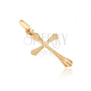 Přívěsek ze 14K zlata - kříž s paprskovitými rozšířenými rameny