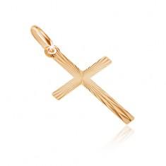 Zlatý přívěsek 585 - latinský kříž se zrcadlovými ploškami GG07.09